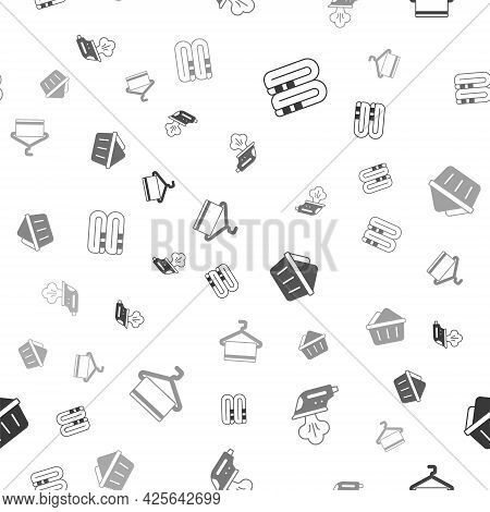 Set Towel Stack, Electric Iron, Basin With Soap Suds And Hanger On Seamless Pattern. Vector
