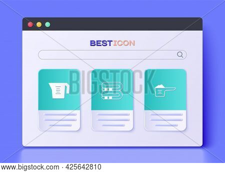 Set Towel Stack, Measuring Cup And Washing Powder Icon. Vector