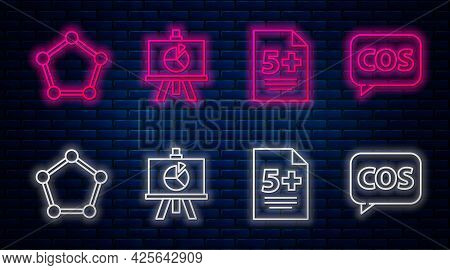 Set Line Xyz Coordinate System, Calculator, Geometric Figure Sphere And Tablet With Calculator. Glow