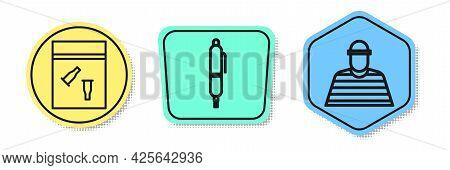 Set Line Evidence Bag And Bullet, Pen And Prisoner. Colored Shapes. Vector