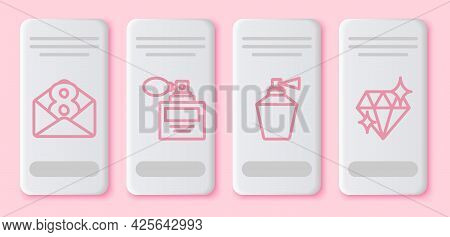 Set Line Envelope With 8 March, Perfume, Perfume And Diamond. White Rectangle Button. Vector