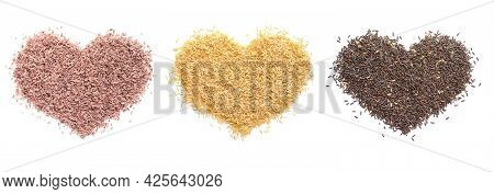 Group Of Heart Shape Dry Orgainic Rice Seed On White Background. Concept Of Carbohydrate Or Healthy