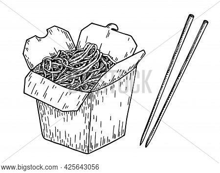 Asian Food Noodle Sketch.wok Box. Asian Fast Food. Perfect For Restaurant Brochure, Cafe Flyer, Deli
