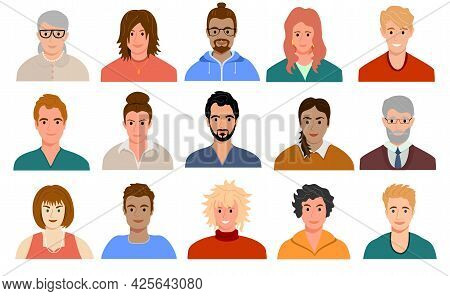 Multinational And Mixed Age People Avatars. Portraits Of Diverse Men And Women Of Different Races. S