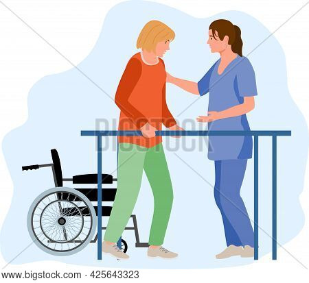 Disabled Female At Orthopedic Rehabilitation Therapy At Clinic. Patient Learning To Walk Using Paral