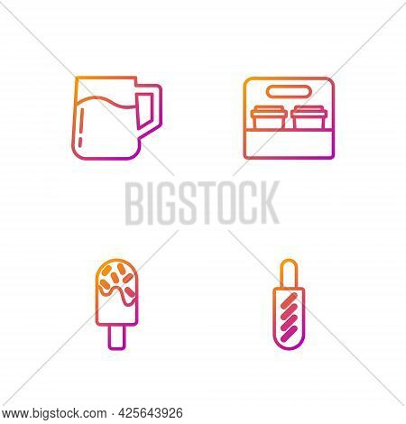 Set Line Hotdog Sandwich, Ice Cream, Wooden Beer Mug And Coffee Cup To Go. Gradient Color Icons. Vec