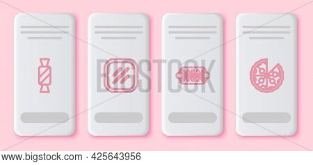 Set Line Candy, Steak Meat, Hotdog Sandwich And Pizza. White Rectangle Button. Vector