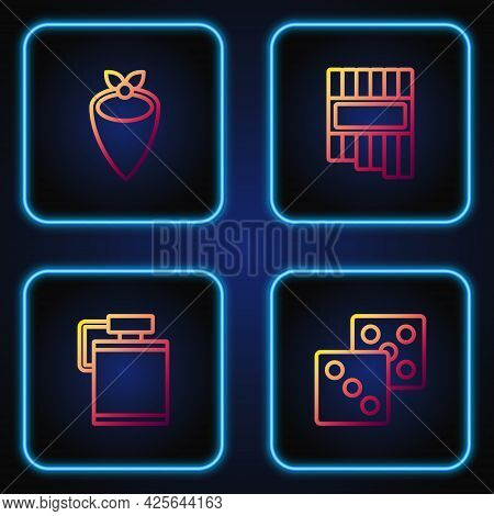Set Line Game Dice, Canteen Water Bottle, Cowboy Bandana And Pan Flute. Gradient Color Icons. Vector