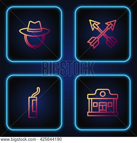 Set Line Wild West Saloon, Dynamite Bomb, Western Cowboy Hat And Crossed Arrows. Gradient Color Icon