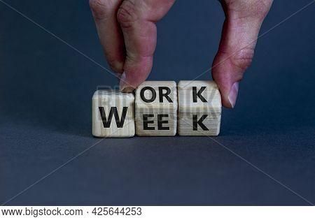 Work Week Symbol. Businessman Turns Wooden Cubes With Words 'work Week'. Beautiful Grey Background.
