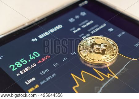 Bangkok, Thailand - 1 July 2021: Binance Trading App With Bnb Altcoin Digital Coin Crypto Currency D