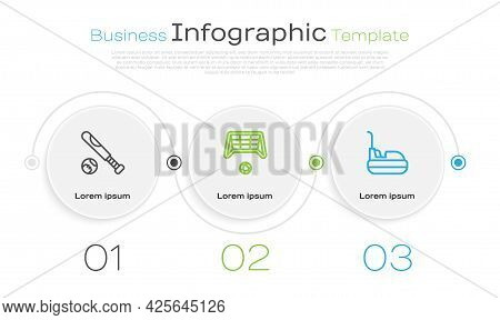 Set Line Baseball Bat With Ball, Soccer Goal And Bumper Car. Business Infographic Template. Vector