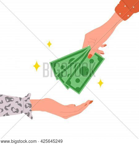 Transfer Money. Female Hand Giving Green Bills. Donation, Charity Or Payday Concept. Financial Symbo