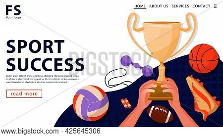 Sport Award Concept With Gold Award Cup And Sports Equipment. The Hands Holding Gold Award Cup. Land