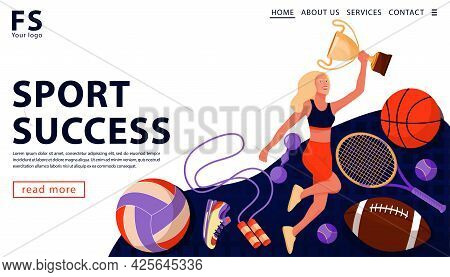 Sport Award Concept With With Happy Sport Athlete Holding Gold Award Cup And Sports Equipment. Sport