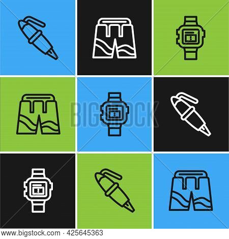 Set Line Fountain Pen Nib, Wrist Watch And Short Or Pants Icon. Vector