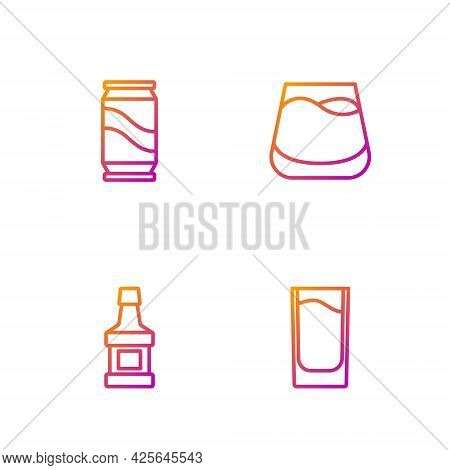 Set Line Shot Glass, Whiskey Bottle, Beer Can And Glass Of Whiskey. Gradient Color Icons. Vector