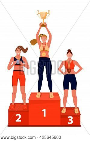Illustration Of Ceremony Of Awarding Trophy. Winners On The Podium With Award Cup And Medals. Vector