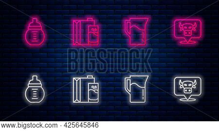 Set Line Paper Package For Milk, Milk Jug Pitcher, Baby In Bottle And Cow Head. Glowing Neon Icon On