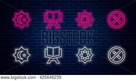 Set Line Holy Book Of Koran, Octagonal Star, And No Smoking. Glowing Neon Icon On Brick Wall. Vector