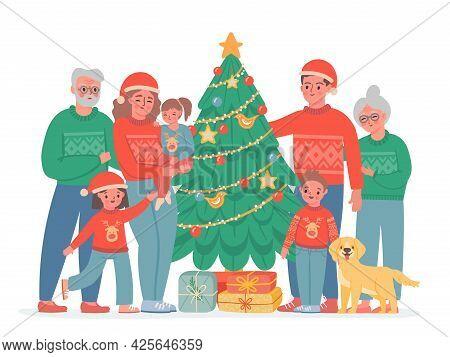 Big Christmas Family. Grandma, Grandpa, Mom And Dad, Kids And Dog In Sweaters And Santa Hat. Vector