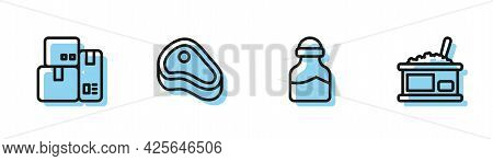 Set Line In Can, Cash Register Machine, Steak Meat And Tin With Caviar Icon. Vector