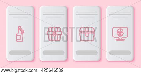 Set Line Alcohol Drink Rum, Antique Treasure Chest, And Skull. White Rectangle Button. Vector
