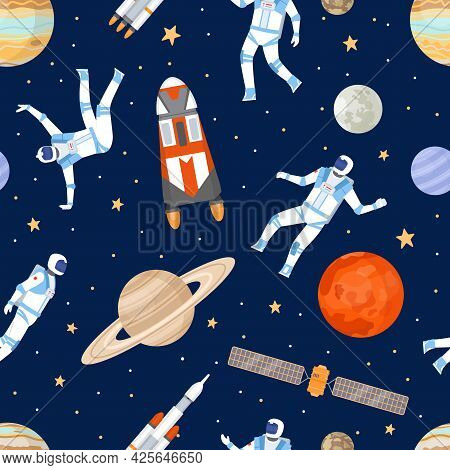 Outer Space Seamless Pattern. Print With Dancing Astronaut, Spaceships, Satellite, Stars And Planets