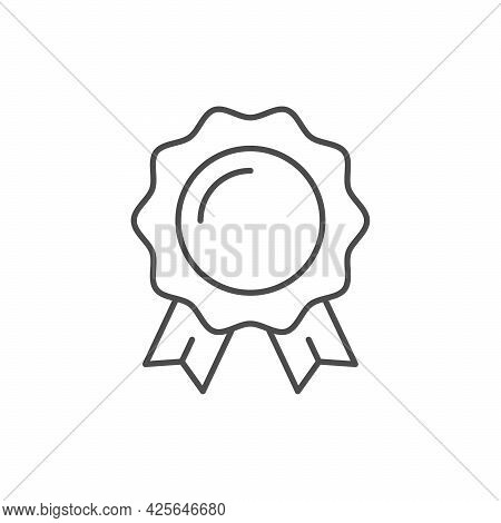 Award Badge Line Outline Icon Isolated On White