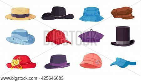 Cartoon Headwears. Summer Male And Female Fashion Hats, Cap, Beret And Cylinder. Cowboy And Straw Ha