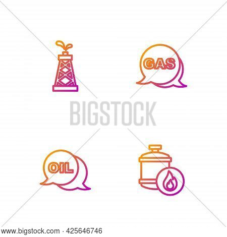 Set Line Propane Gas Tank, Word Oil, Oil Rig And Location And Station. Gradient Color Icons. Vector