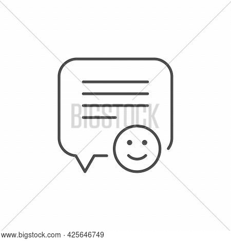 Testimonial Comment Line Outline Icon Isolated On White