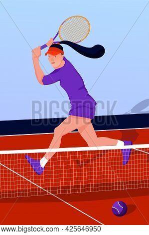 Illustration With Woman Tennis Player In Tennis Court. Tennis Match Sport Concept. Vector Flat Art.