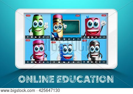 Online Education School Video Conference Vector Design. Online Education Text With Learning Characte