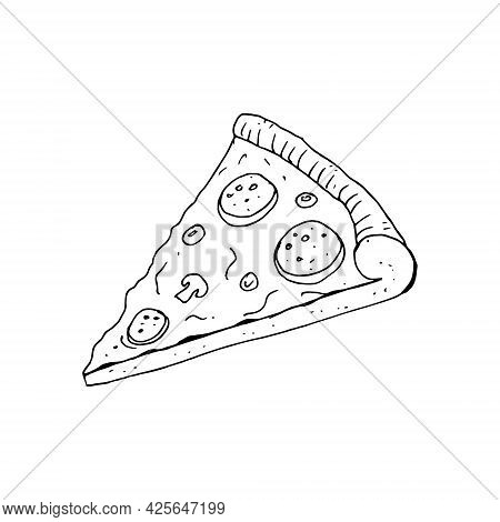 Pizza Slice With Melted Cheese And Pepperoni. Decoration For Greeting Cards, Posters. Vector Illustr