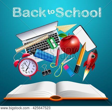 Back To School Online Education Vector Banner Design. Back To School Text With Educational Supplies