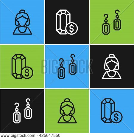 Set Line Consultant Of Jewelry Store, Earrings And Jewelry Online Shopping Icon. Vector