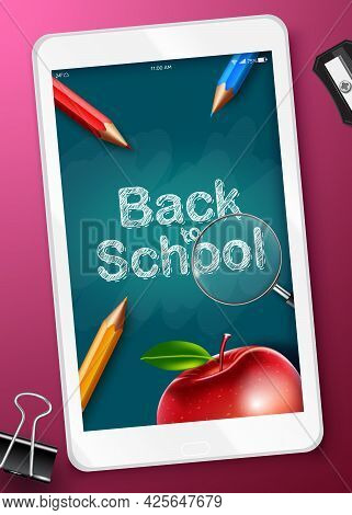 Back To School Online Vector Design. Back To School Text In Tablet Device And Chalkboard Background