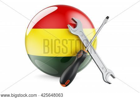 Service And Repair In Bolivia Concept. Screwdriver And Wrench With Bolivian Flag, 3d Rendering Isola