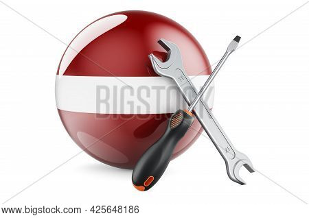 Service And Repair In Latvia Concept. Screwdriver And Wrench With Latvian Flag, 3d Rendering Isolate