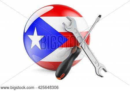 Service And Repair In Puerto Rico Concept. Screwdriver And Wrench With Puerto Rican Flag, 3d Renderi