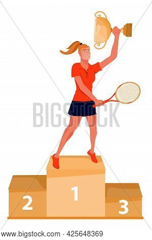Illustration Of Ceremony Of Awarding Trophy. Winner On The Podium With Gold Award Cup And Tennis Rac