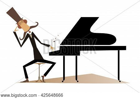 Thinking Pianist Or Composer And Piano Illustration.  Mustache Pianist Or Composer In The Top Hat Si