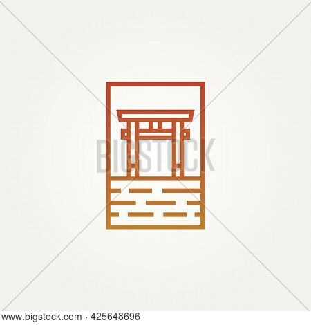 Ancient Torii Gate Landmark Minimalist Line Art Logo Template Vector Illustration Design. Simple Mod
