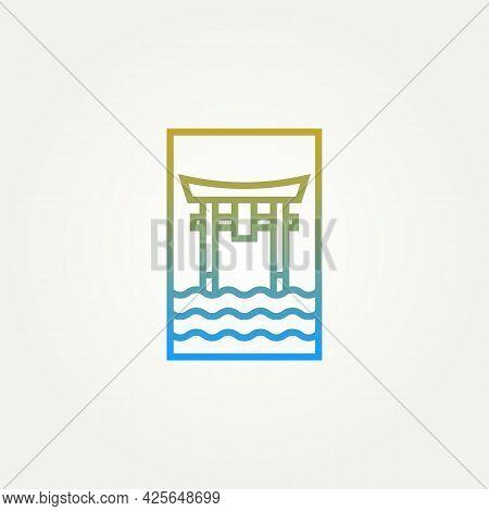 Itsukushima Shrine The Floating Torii Gate Minimalist Line Art Logo Template Vector Illustration Des