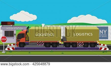 Container Trailer Truck Orange Color On Weigh Scales Long Range Support. Weighing Station In Front A