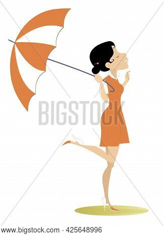 Smiling Young Woman With An Umbrella Illustration. Good Weather, Smiling Young Woman With Umbrella I