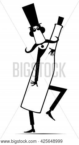 Cartoon Long Mustache Man Holds A Big Bottle Illustration.  Funny Long Mustache Man In The Top Hat H