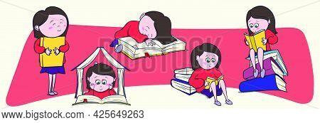 Big Set Of Cute Little Girl, Book Lover Enjoys Reading Big Books And Novels.