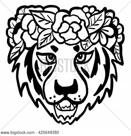 Vector Tiger Face With Flowers. Tatoo Sketch.
